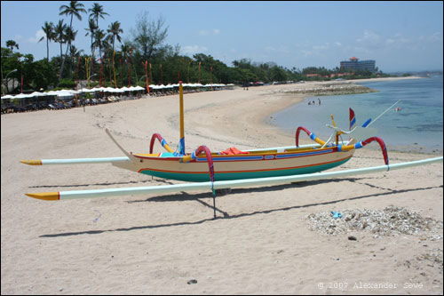 Bali colourfull boat on beach