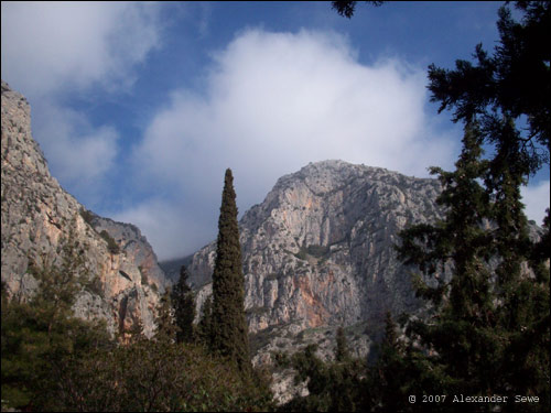 Delphi Greece mountains and trees