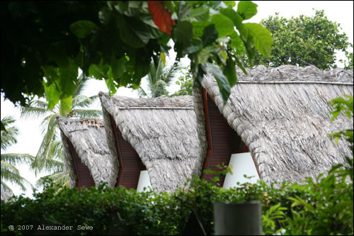 Seychelles straw roof houses